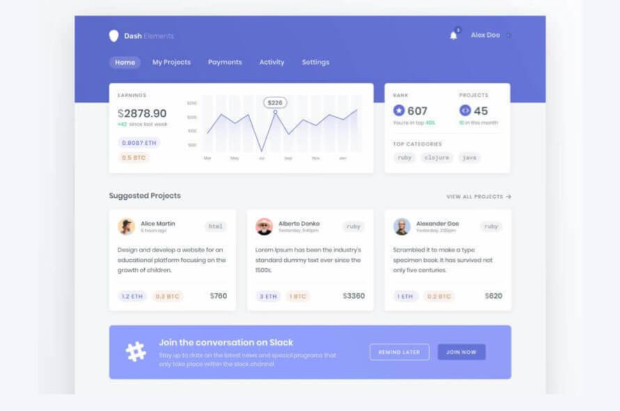Dashboard Elements Template Free