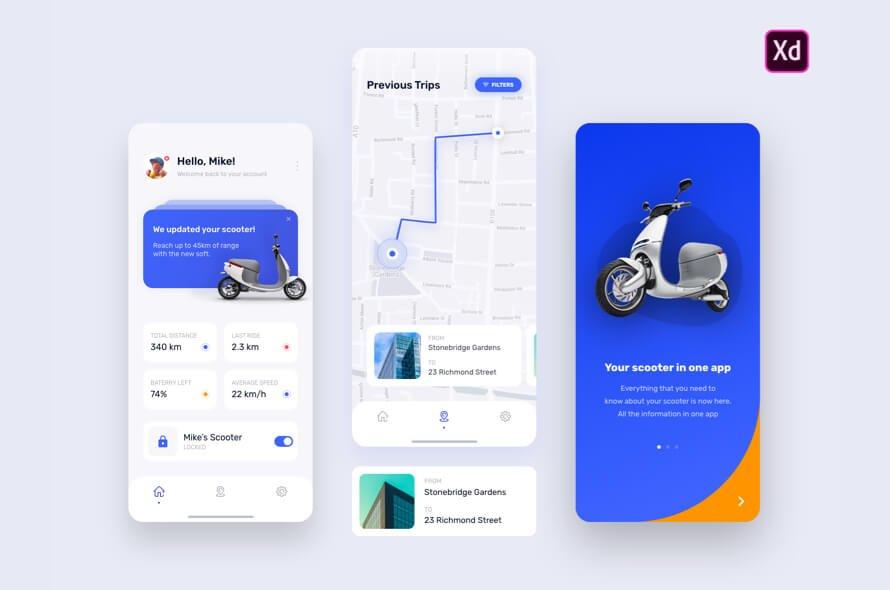E Scooter App Free - UI Freebies