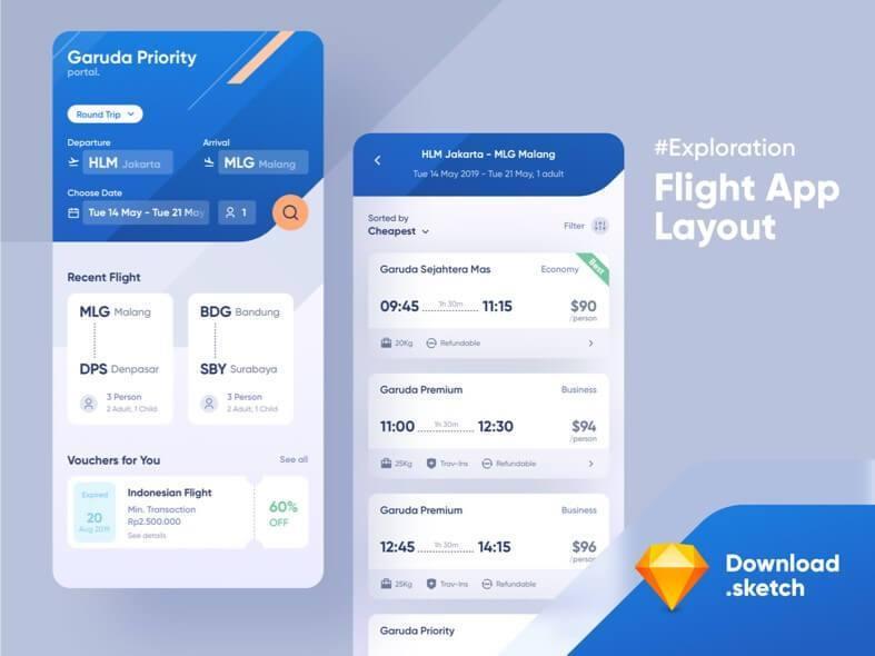 Flight App UI Kit Free