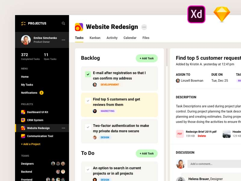 Project Management UI Kit Free for XD
