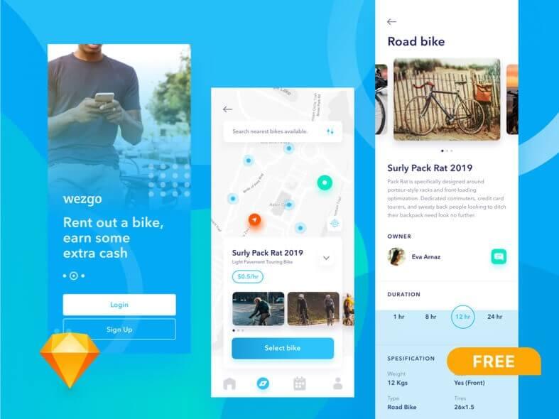 Bike Sharing App Design- uifreebies.net