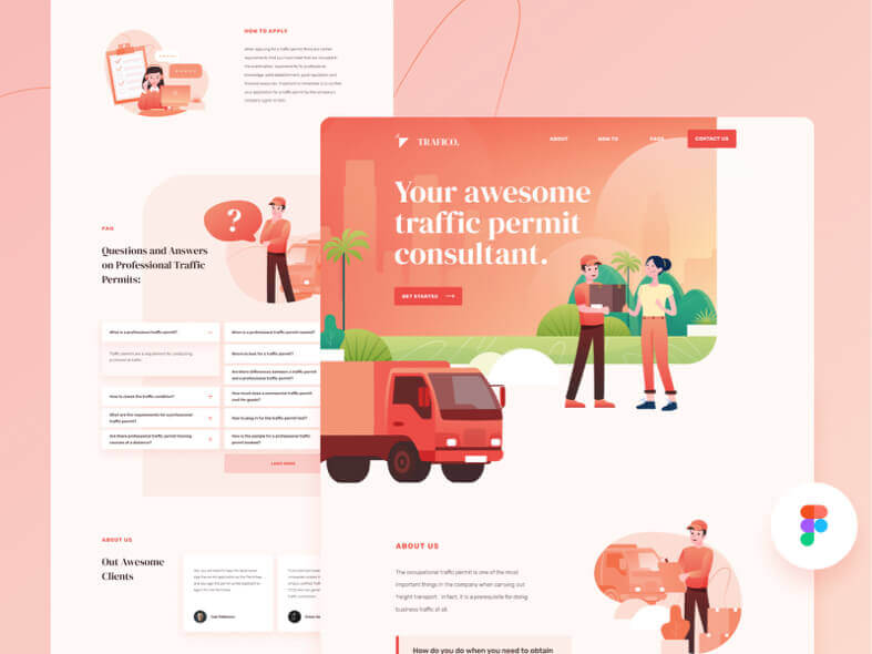 Traffico Landing Page Design- uifreebies.net