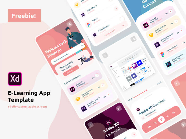 E-Learning App Template UI Kit - uifreebies.net