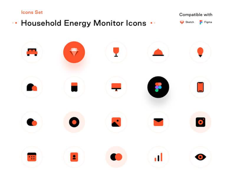 Household Energy Monitor Icons- uifreebies.net