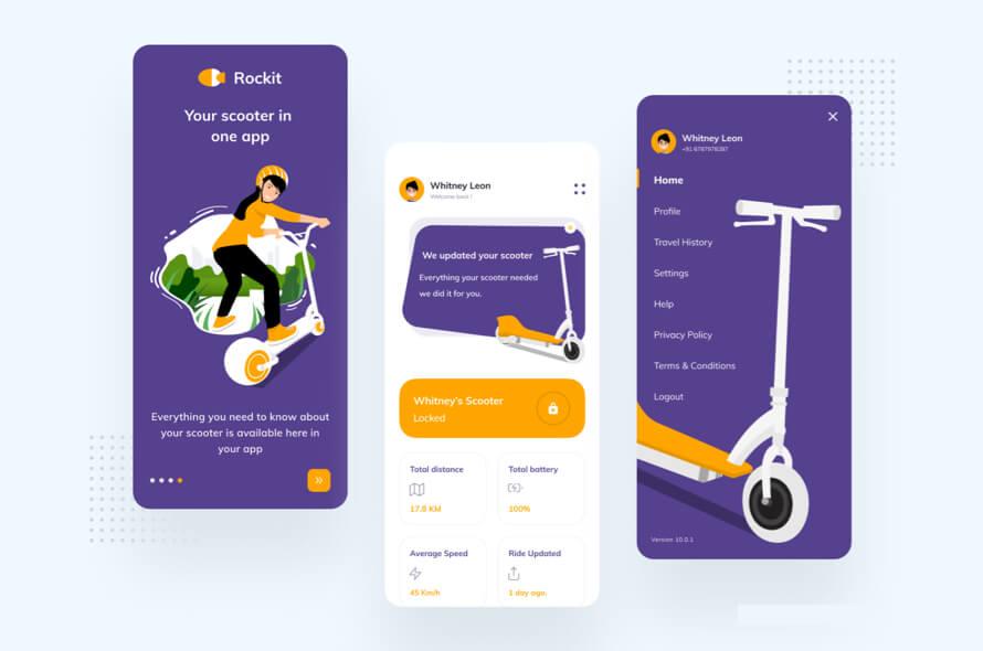 Rockit E-Scooter App Design- uifreebies.net