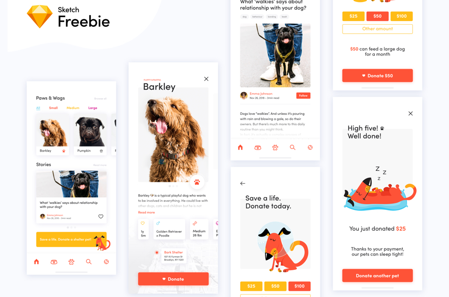 Dog Donation App Concept Sketch freebie