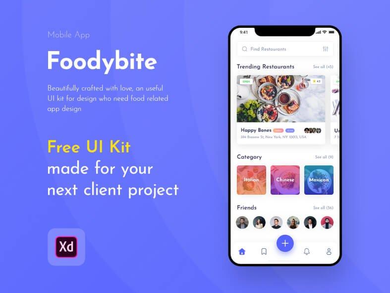 Foodybite - Free UI Kit for Adobe XD- uifreebies.net